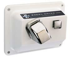 r76 w excel hand dryer push button recessed white - Excel Hand Dryer