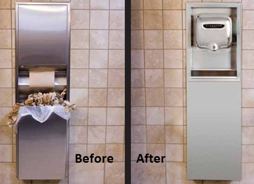 picture of paper towel dispenser and trash receptacle that have been replaced by an xlerator hand dryer recessed kit and xchanger
